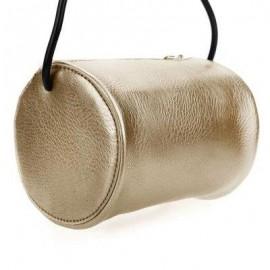 image of GUAPABIEN CYLINDER PATTERN SOLID COLOR DUAL PURPOES SHOULDER MESSENGER MINI BAG FOR WOMEN (GOLDEN) HORIZONTAL