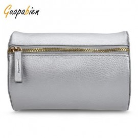 image of GUAPABIEN CYLINDER PATTERN SOLID COLOR DUAL PURPOES SHOULDER MESSENGER MINI BAG FOR WOMEN (SILVER) HORIZONTAL
