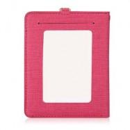 image of DETACHABLE NECK STRAP PU LEATHER MAGNET CARD HOLDER UNISEX LIGHT WALLET (ROSE RED) -