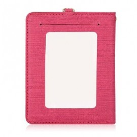 image of DETACHABLE NECK STRAP PU LEATHER MAGNET CARD HOLDER UNISEX LIGHT WALLET (ROSE RED) -