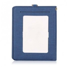 image of DETACHABLE NECK STRAP PU LEATHER MAGNET CARD HOLDER UNISEX LIGHT WALLET (BLUE) -