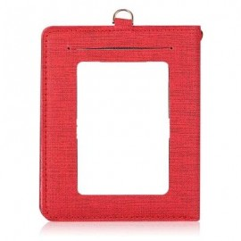 image of DETACHABLE NECK STRAP PU LEATHER MAGNET CARD HOLDER UNISEX LIGHT WALLET (RED) -