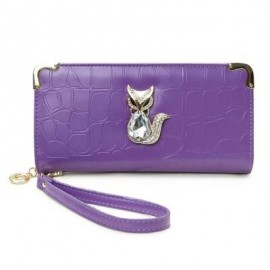 image of TRENDY FOX AND RHINESTONES DESIGN WOMEN'S WALLET -
