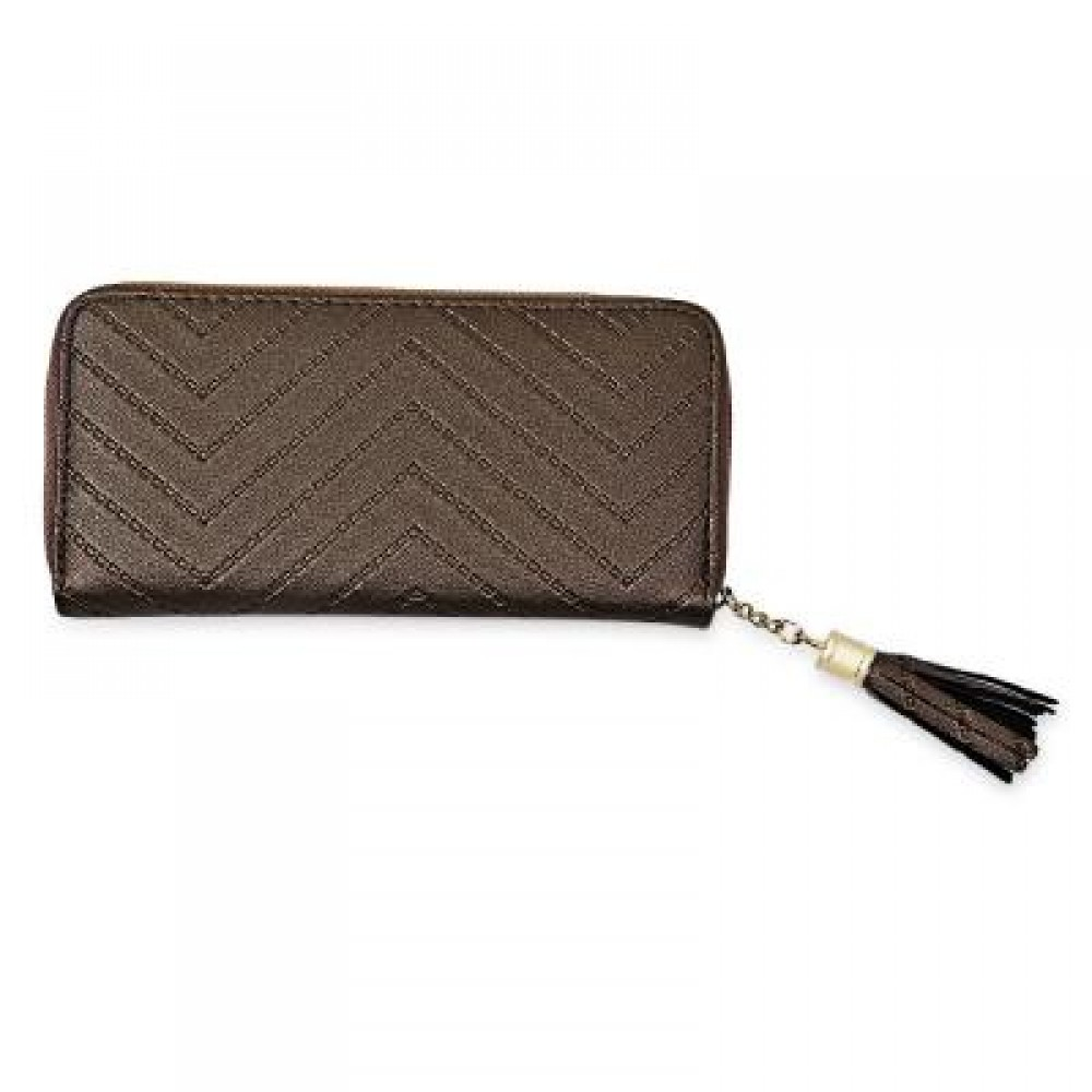 GUAPABIEN FASHIONABLE FRINGE PU LEATHER ZIP AROUND WALLET FOR WOMEN (COPPER COLOR) -