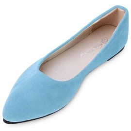 image of FASHIONABLE POINTED TOE SUEDE SLIP-ON WOMEN FLAT SHOES (BLUE) 37
