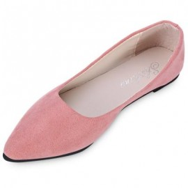 image of FASHIONABLE POINTED TOE SUEDE SLIP-ON WOMEN FLAT SHOES (PINK) 36