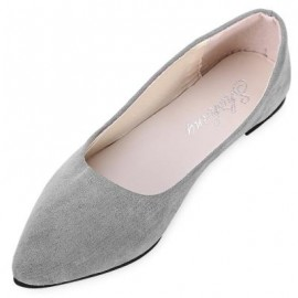 image of FASHIONABLE POINTED TOE SUEDE SLIP-ON WOMEN FLAT SHOES (GRAY) 37