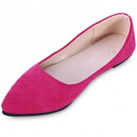 image of FASHIONABLE POINTED TOE SUEDE SLIP-ON WOMEN FLAT SHOES (TUTTI FRUTTI) 37