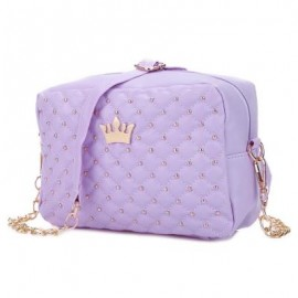 image of GUAPABIEN CROWN RIVET GRID DETACHABLE CHAIN BELT SHOULDER MESSENGER BAG (PURPLE) -