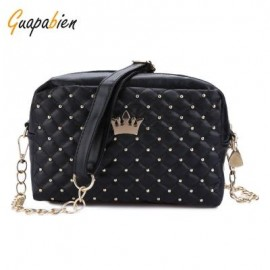 image of GUAPABIEN CROWN RIVET GRID DETACHABLE CHAIN BELT SHOULDER MESSENGER BAG (BLACK) -