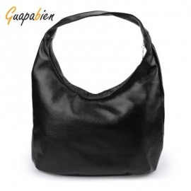 image of GUAPABIEN SOLID COLOR ZIPPER DUAL PURPOSES SHOULDER TOTE BAG FOR WOMEN (BLACK) VERTICAL