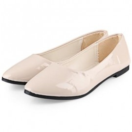 image of SPRING CASUAL LADIES SOLID COLOR PATENT LEATHER FLAT SHOES (OFF-WHITE) 39