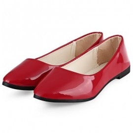 image of SPRING CASUAL LADIES SOLID COLOR PATENT LEATHER FLAT SHOES (RED) 39