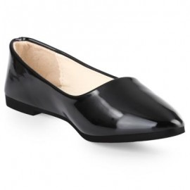 image of SPRING CASUAL LADIES SOLID COLOR PATENT LEATHER FLAT SHOES (BLACK) 40