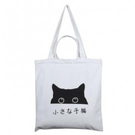 image of CARTOON CAT ZIPPER SHOULDER CANVAS BAG FOR WOMEN (WHITE, TWO STRAPS/FOUR STRAPS) Four Straps And Zipper