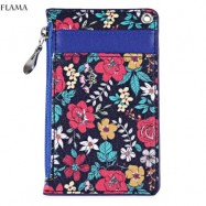 image of FLAMA TRENDY FLOWER PRINT PUBLIC TRANSPORT CARD CERTIFICATE BAG (PURPLE) 12.50 x 1.50 x 7.70 cm