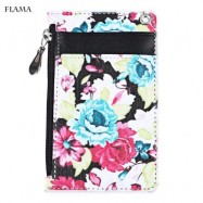 image of FLAMA TRENDY FLOWER PRINT PUBLIC TRANSPORT CARD CERTIFICATE BAG (WHITE) 12.50 x 1.50 x 7.70 cm