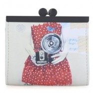 image of VINTAGE PANDA GRAFFITI OIL PAINTING METAL FRAME PURSE COIN CASE FOR LADY (RED) 10.90 x 2.80 x 9.50 cm