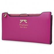 image of BOWKNOT LETTER SOLID COLOR HASP ZIPPER HORIZONTAL LONG WALLET FOR LADY (ROSE) 20.20 x 1.50 x 10.80 cm