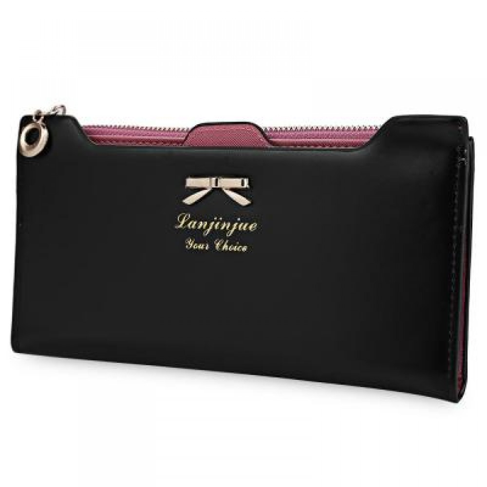 BOWKNOT LETTER SOLID COLOR HASP ZIPPER HORIZONTAL LONG WALLET FOR LADY (BLACK) 20.20 x 1.50 x 10.80 cm