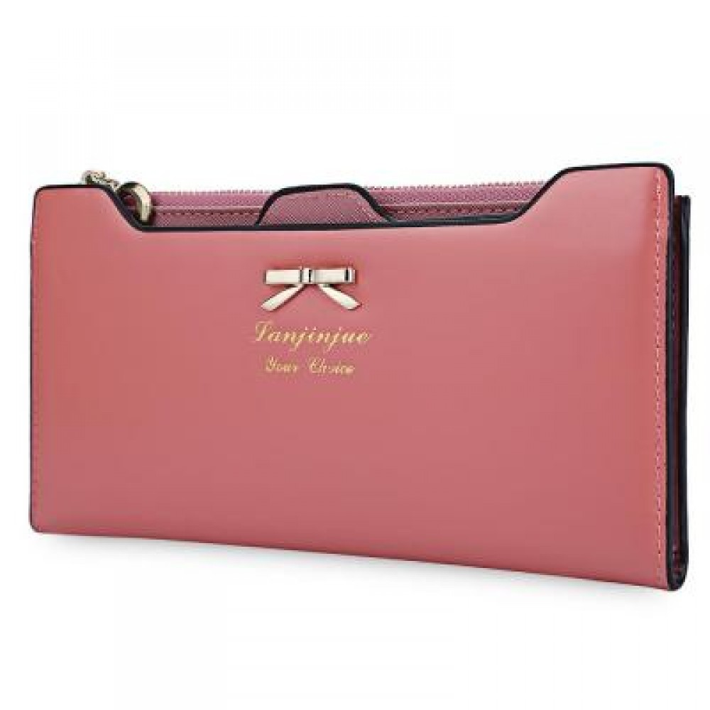 BOWKNOT LETTER SOLID COLOR HASP ZIPPER HORIZONTAL LONG WALLET FOR LADY (PINK) 20.20 x 1.50 x 10.80 cm