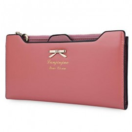 image of BOWKNOT LETTER SOLID COLOR HASP ZIPPER HORIZONTAL LONG WALLET FOR LADY (PINK) 20.20 x 1.50 x 10.80 cm