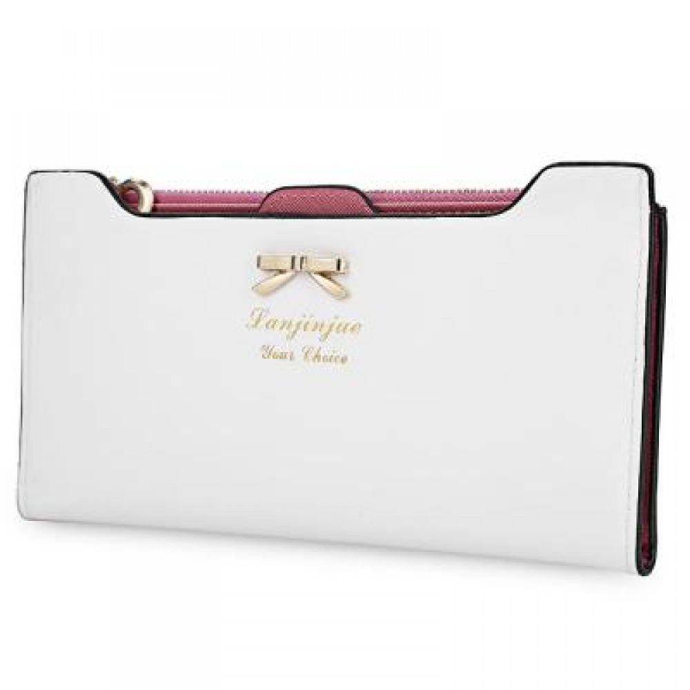 BOWKNOT LETTER SOLID COLOR HASP ZIPPER HORIZONTAL LONG WALLET FOR LADY (WHITE) 20.20 x 1.50 x 10.80 cm