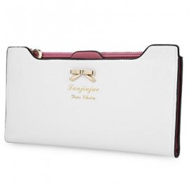 image of BOWKNOT LETTER SOLID COLOR HASP ZIPPER HORIZONTAL LONG WALLET FOR LADY (WHITE) 20.20 x 1.50 x 10.80 cm