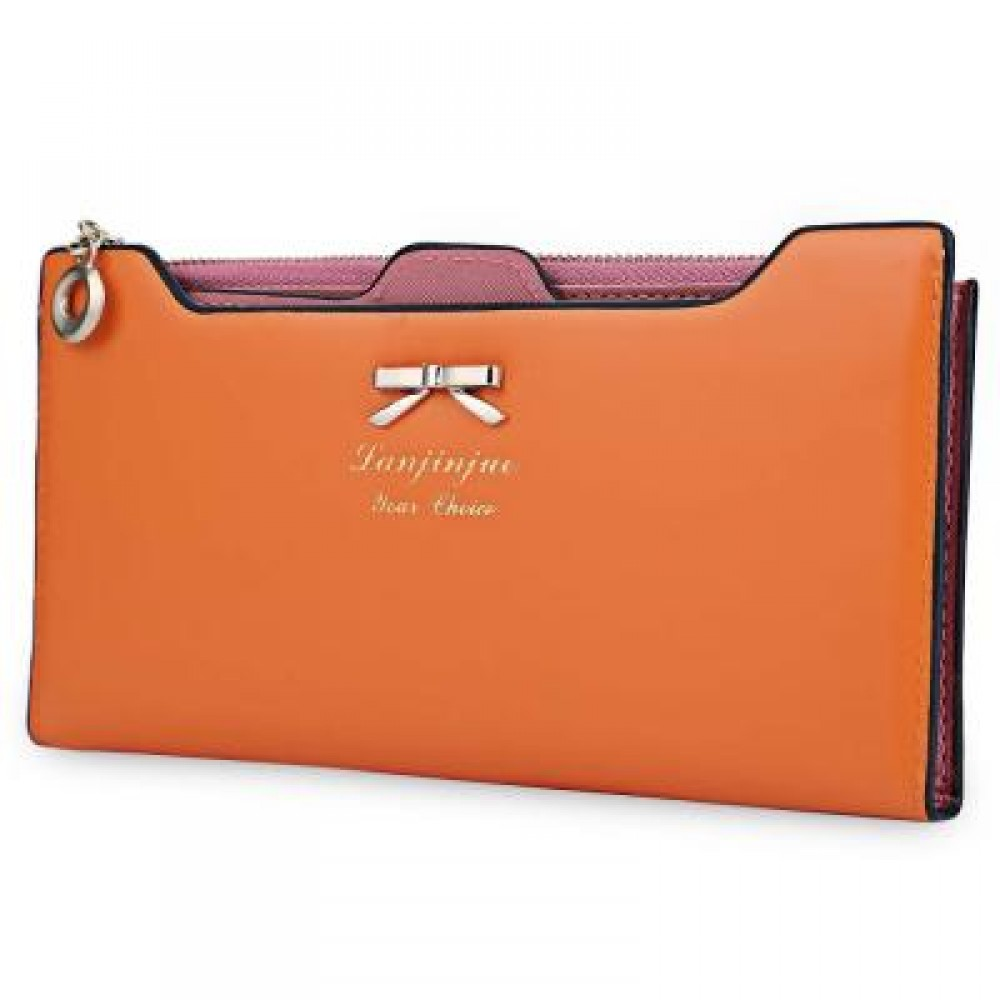BOWKNOT LETTER SOLID COLOR HASP ZIPPER HORIZONTAL LONG WALLET FOR LADY (ORANGE RED) 20.20 x 1.50 x 10.80 cm