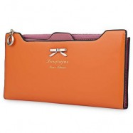 image of BOWKNOT LETTER SOLID COLOR HASP ZIPPER HORIZONTAL LONG WALLET FOR LADY (ORANGE RED) 20.20 x 1.50 x 10.80 cm