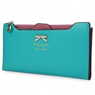 image of BOWKNOT LETTER SOLID COLOR HASP ZIPPER HORIZONTAL LONG WALLET FOR LADY (BLUE) 20.20 x 1.50 x 10.80 cm
