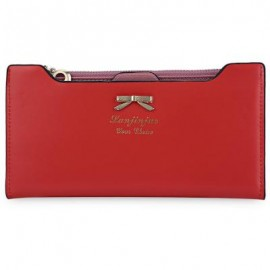image of BOWKNOT LETTER SOLID COLOR HASP ZIPPER HORIZONTAL LONG WALLET FOR LADY (RED) 20.20 x 1.50 x 10.80 cm