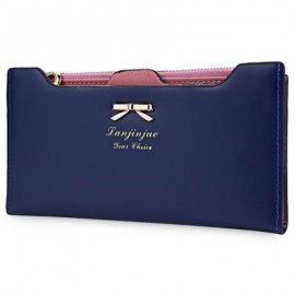 image of BOWKNOT LETTER SOLID COLOR HASP ZIPPER HORIZONTAL LONG WALLET FOR LADY (DEEP BLUE) 20.20 x 1.50 x 10.80 cm