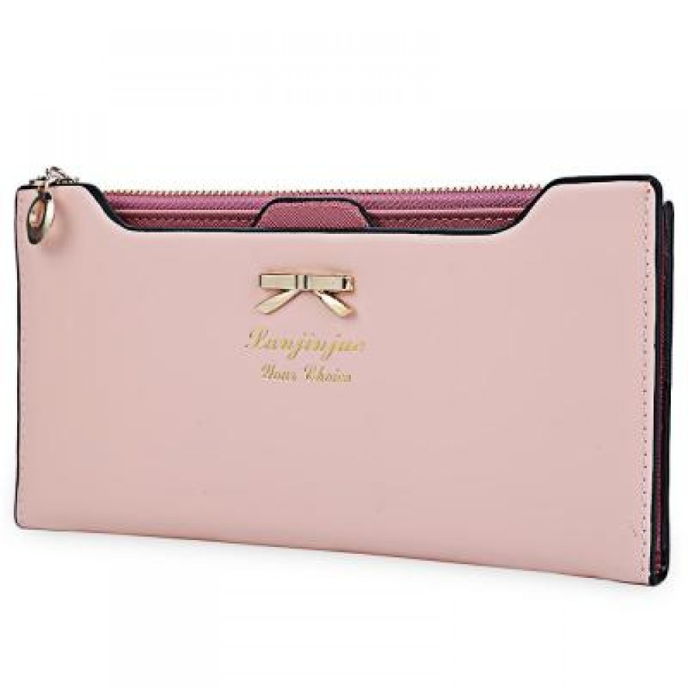 BOWKNOT LETTER SOLID COLOR HASP ZIPPER HORIZONTAL LONG WALLET FOR LADY (LIGHT PINK) 20.20 x 1.50 x 10.80 cm