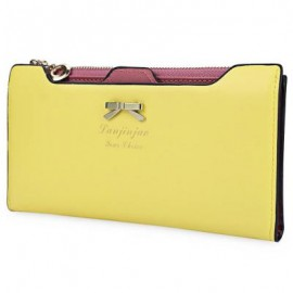 image of BOWKNOT LETTER SOLID COLOR HASP ZIPPER HORIZONTAL LONG WALLET FOR LADY (YELLOW) 20.20 x 1.50 x 10.80 cm