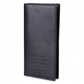image of MEN VERTICAL LONG WALLET SOFT LICHEE PATTERN (BLACK) 9.80 x 2.10 x 19.40 cm