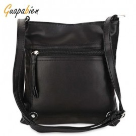 image of GUAPABIEN PU LEATHER SOLID COLOR RECTANGLE LIGHT WEIGHT SHOULDER BAG (BLACK) -