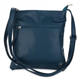 image of GUAPABIEN PU LEATHER SOLID COLOR RECTANGLE LIGHT WEIGHT SHOULDER BAG (BLUE) -