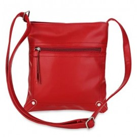 image of GUAPABIEN PU LEATHER SOLID COLOR RECTANGLE LIGHT WEIGHT SHOULDER BAG (RED) -