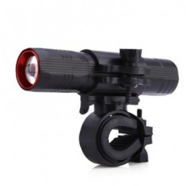 image of BIKE CYCLING PORTABLE FLASHLIGHT BICYCLE FRONT HANDLEBAR LIGHT WITH BRACKET (BLACK)