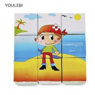 image of YOULEBI TODDLER CARTOON WOODEN CUBE PUZZLES LEARNING TOY (RED) -