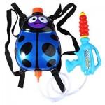 KIDS CUTE LADYBIRD OUTDOOR SUPER SOAKER BLASTER BACKPACK PRESSURE SQUIRT POOL TOY (BLUE) -