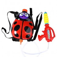 image of KIDS CUTE LADYBIRD OUTDOOR SUPER SOAKER BLASTER BACKPACK PRESSURE SQUIRT POOL TOY (RED) -