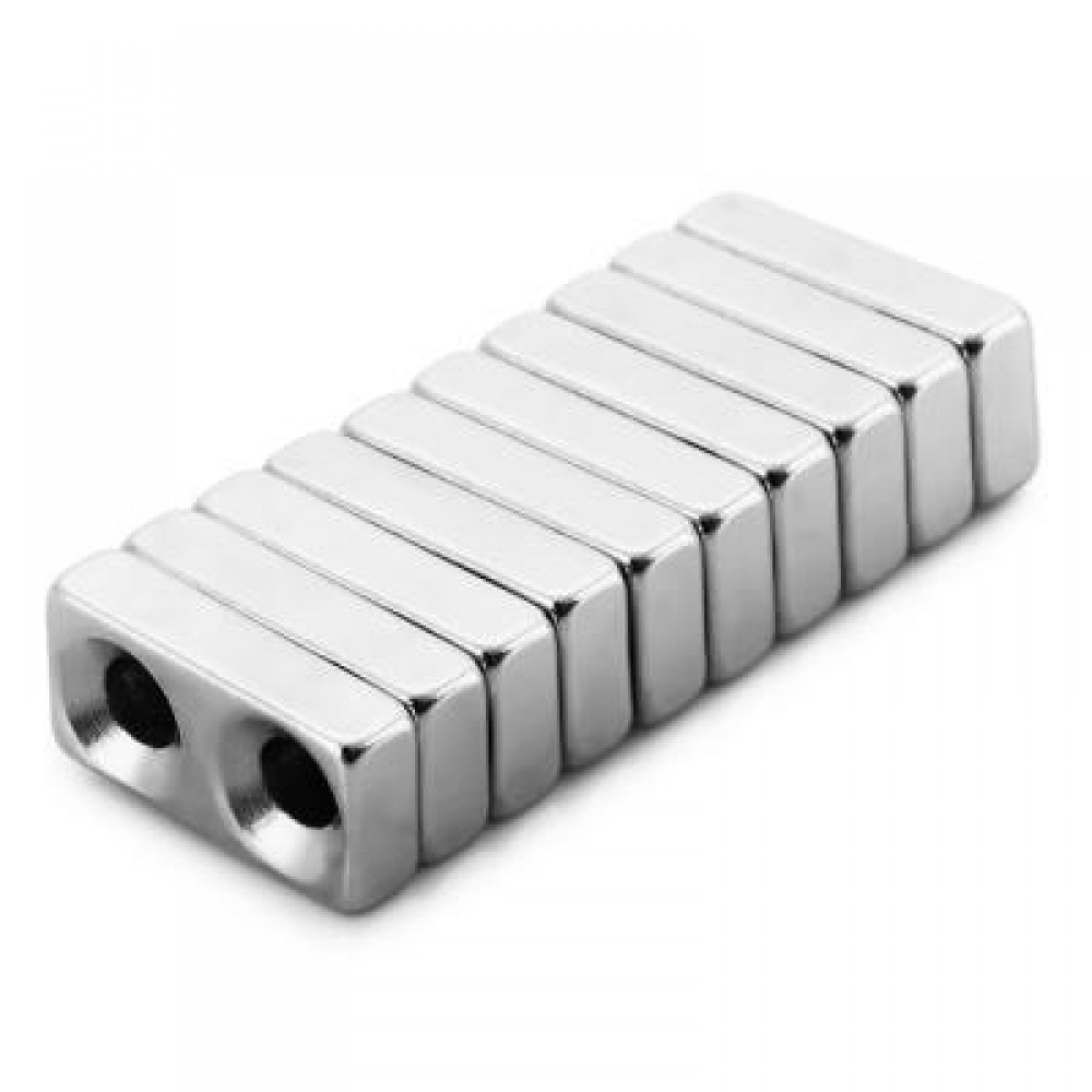 10PCS 20 X 10 X 5MM N38 STRONG NDFEB SQUARE MAGNET WITH COUNTERSUNK SCREW HOLE BIRTHDAY DIY INTELLIGENT GIFT (SILVER) -