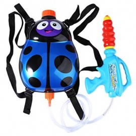 image of KIDS CUTE LADYBIRD OUTDOOR SUPER SOAKER BLASTER BACKPACK (BLUE) 27.50 x 25.00 x 8.00 cm