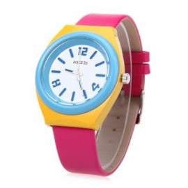 image of KEZZI K681 CHILDREN QUARTZ WATCH WATER RESISTANCE LEATHER BAND WRISTWATCH (ROSE) 0