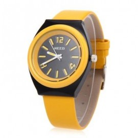 image of KEZZI K681 CHILDREN QUARTZ WATCH WATER RESISTANCE LEATHER BAND WRISTWATCH (YELLOW) 0