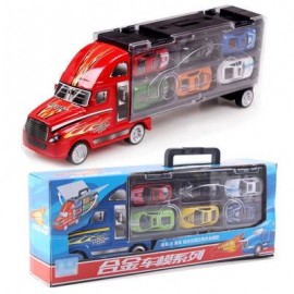 image of 1:30 SCALE DIECAST METAL ALLOY MODEL TOYS DIECAST METAL TRUCK HAULER WITH 12 SMALL CARS FOR CHILDREN GIFTS (RED) 0