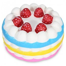 image of SQUISHY FRAGRANT PU SLOW RISING SIMULATE STRAWBERRY CAKE TOY (COLORMIX) -