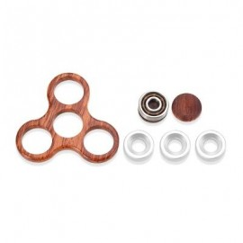 image of DIY ROSEWOOD TRILATERAL PATTERN HAND SPINNER FINGER TOY (GOLD BROWN) -
